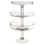 3 Tiers Glass Cupcake Holder H'ODerves Stand: Clear (SET of 3)