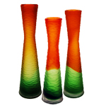 Decoration Tiered Vase: Orange/Green (SET of 3)