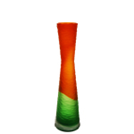 "15"" Carved Tiered Vase: Orange-Green, Open-4"", Btm D-4"""