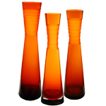 Decoration Carved Tiered Vase: Autumn Orange (SET of 3)