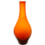 "Carved Tear Drop Vase: Autumn Orange, H-16"", Open-2.25"""