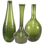 Carved Artistic Vase: Olive Green (SET of 3)