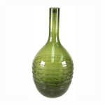 "Carved Artistic Autumn Vase: Olive Green H-14.5"", Open-1.5"""