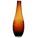"Carved Artistic Autumn Vase: Amber H-15"", Open-1.5"""