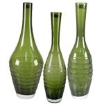 Tear Drop Carved Artistic Vase: Olive Green (SET of 3)