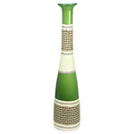 "Baseball Bat Vase: Green Weaved H-27"", Open-2.5"""