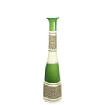 "Baseball Bat Vase: Green Weaved H-21"", Open-2.5"""
