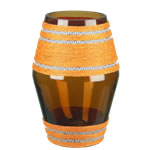 "Golden Drum Vase: Amber Gold Weaved H-10"", Open-4.5"" (Pack of 6pcs - $8.00 ea)"