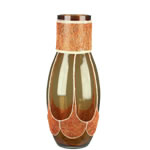 "Aladdin Vase: Amber Gold Weaved H-15"", Open-4"" (Pack of 4pcs - $11.90 ea)"