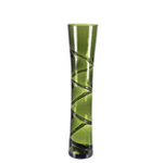 "Swirl Curved Vase: Olive Green H-16"", Open-4"""