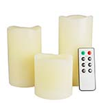 LED Real Wax Pillar Candles with Remote (Lot of 3 sets - $15.00/set) *FREE SHIPPING*
