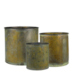 "Planter Ridged Rustic Zinc Cylinder. H-6"", 5"", 4"", Pack of 12 sets"