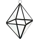 "Geometry Prism 8"" Terrarium Glass with Chains. Pack of 12 pcs"
