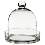 "Glass Bell Cloches with Knob & Tray. H-8"", Wholesale Pack of 4 pcs"