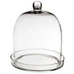 "Glass Bell Cloches with Knob & Tray. H-14"", Wholesale Pack of 2 pcs"