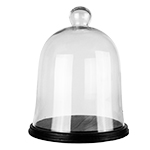 "Glass Bell Cloches with Knob & Wood Base. H-17"", Wholesale Pack of 1 pc"