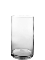 "Glass Cylinder Vases. H-16"",  Open D - 8"", Pack of 4 pcs"