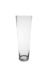 "Taper Down Glass Cylinder Vases.  H-20"", Open D - 6.75"", Btm - 4.25"", Pack of 4 pcs"