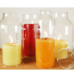 "Glass Hurricane Candle Shade Set of 4. H-8"", Pack of 6 sets"