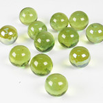"Round Glass Gem Marbles. Color:  Olive Green, D-0.6"", Pack of 24 bags"