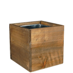 Wood Cube Box Planters with Zinc Liner H-4""