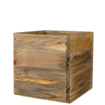 "Wood Cube Planter Box with Zinc Liner Natural. H-4"",Pack of 24 pcs"
