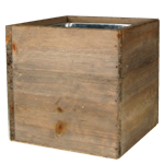 "Wood Cube Planter Box with Zinc Liner Natural. H-8"",Pack of 8 pcs"