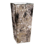 "Zinc Square Vase with Birch Wood Wrap. H-10"",Pack of 12 pcs"