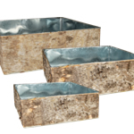 "Zinc Square Vase with Birch Wood Wrap. H-6"", 5"", 4"",Pack of 2 sets"