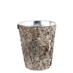 "Zinc Cylinder Vase with Birch Wood Wrap. H-7"",Pack of 48 pcs"