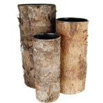 "Zinc Cylinder Vase with Birch Wood Wrap. H-14"", 12"", 10"",Pack of 6 sets"