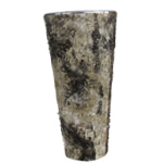 "Zinc Cylinder Vase with Birch Wood Wrap. H-14"",Pack of 12pcs"