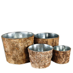 "Zinc Cylinder Vase with Birch Wood Wrap. H-6"", 5"", 4"", 3"",Pack of 12 sets"