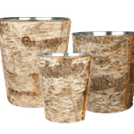 "Zinc Cylinder Vase with Birch Wood Wrap. H-9"", 8"", 7"",Pack of 6 sets"