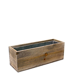 "Wood Rectangle Planters with Zinc Liner. H-4"", Pack of 12 pcs"