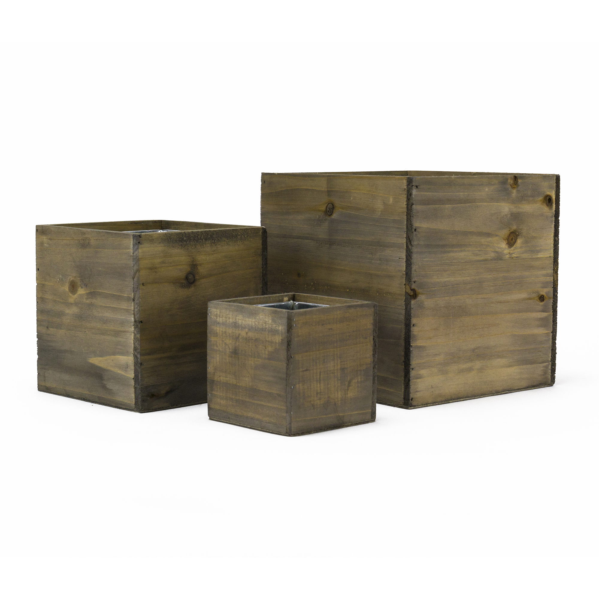 "Wood Planter Cube Boxes with Zinc Liner Set of 3. H-8"", 6"", 4"""