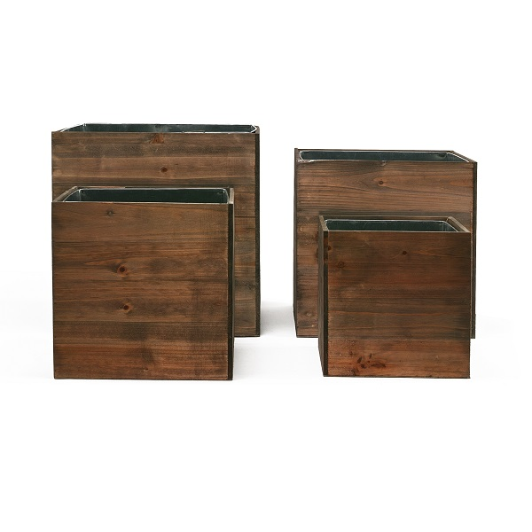 "Wood Planter Cube Boxes with Zinc Liner Set of 4. H-12"", 10"", 8"", 6"""
