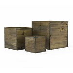 "Wood Planter Cube Boxes with Zinc Liner Set of 3. H-16"", 14"", 12"""