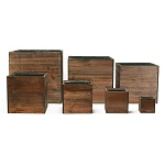 "Wood Planter Cube Boxes with Zinc Liner Set of 7. H-16"", 14"", 12"", 10"", 8"", 6"", 4"""